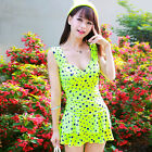One Piece Yellow Ruched Polka Dot Siamese Swimdress Swim Dress Swimsuit Tankini