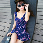 One Piece Blue Ruched Polka Dot Siamese Swimdress Swim Dress Swimsuit Tankini