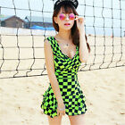 One Piece Green and Black Checks Siamese Swimdress Swim Dress Swimsuit Tankini