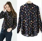 NEW Spring Europe Retro Vintage fire balloon print Top Blouse long sleeve Shirt