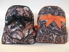 Quilted BACKPACK Purse CAMOUFLAGE PATTERN Backpack Purse ORANGE or BLACK TRIM