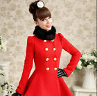 Womens Fashion Red Double Breasted Black Fur Collar Lace Trimmed Trench Coat
