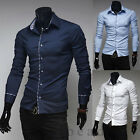 TOP DESIGNED Luxury Fashion Men's Long Sleeves Casual Dress Slim Fit Shirts