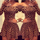 Sexy Women's Off Shoulder Leopard Slim Fit Prom Clubwear PARTY Short Mini Dress
