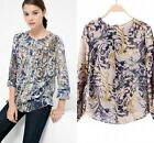 2015 Spring Europe Retro Vintage Totem Floral Top Collarless Long sleeve Blouse