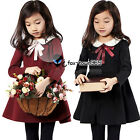 Spring Autumn Baby Child Kids Girl Lace Ribbon Collar Neck Long Party Dress 3-8Y