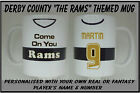 Personalised DERBY COUNTY FC THE RAMS themed MUG team shirt / kit inspired gift