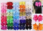 Lot 12pc~80pc 4inch Girl bowknot solid Ribbon Hair Bows Clip(196 color)-355