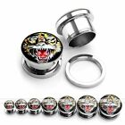 2x Tiger Animal Stainless Steel Screw Tunnel Ear Plug Expander Punk Body Jewelry