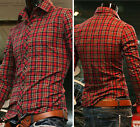 Mens Fashion Casual Shirts Luxury Formal Slim Fit Dress Shirts Plaid Spring Tops