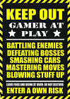 """WARNING GAMER AT PLAY"" METAL SIGN PLAQUE for game PS4 PS3 XBOX 360 COD WII fans"