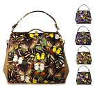 NEW LADIES BUTTERFLY PRINT DESIGNER FAUX LEATHER GRAB BAG HANDBAG SHOULDER BAG
