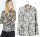 2015 Fashion Women Vintage Long Sleeve shirt flower print  Blouse Top blouse