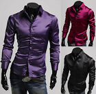 ❤Silk-Like Satin❤ Young Mens Slim Fit Formal Dress Shirt Top Casual Polo T-Shirt