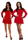 DELUXE WOMENS RED SPACE TIME TRAVELLER STAR TREK DRESS FANCY DRESS OUTFIT