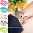 Punk Transparent Film Rivet Resin Wristband Cuff 2 Circle Wrap Bracelet Gift NEW