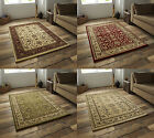 Heritage Traditional Repetitive Pattern Rug Soft Wool Look Pile Carpet Floor Mat