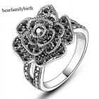 Vintage Black Marcasite Flower Swarovski Crystal Ring 18K White Gold Plated R807