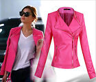 New Fashion Women Girls Celeb Elegant Rose Leather Coat Motorcycle Jacket AMLSU