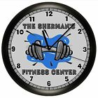 FITNESS CLOCK DUMBBELL WALL GYM WORKOUT WEIGHTS DECOR HOME ATHLETE