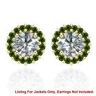 Halo Jackets for 1 Ct Total Weight 5MM Green Diamond Earrings 14K Yellow Gold