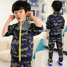 2015 Spring Baby Kids Child Boys Glasses Heart Hooded Coat+Trousers Sets 2-7Y
