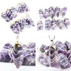 Natural Freeform Amethyst Stripe Stone Healing Divination Gemstone Pendant Charm