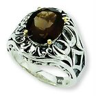 Smokey Quartz Ring .925 Sterling Silver & 14K Gold Accent Sz 6 - 8 Shey Couture