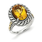 Citrine Oval Ring .925 Sterling Silver & 14K Gold Accent Size 6 - 8 Shey Couture