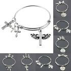 Angel Hearts Bowknot Cross Key Flower Silver Charms Expandable Bracelet Bangle