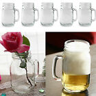 2/5 X Mason Jars Handle Cups Glasses with Lid Drinking Mug 350ml Party Bar Cafes