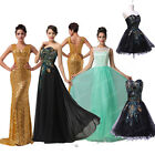 FREE P&P Long SEQUINS Formal Evening Party Prom Dress Bridesmaid Dresses UK 6-20