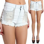TheMogan Chain Fringed Distressed Jean High Waist Bleached Denim Shorts
