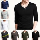 Popular Men's Long Sleeve V-Neck T-Shirt GYM Sports Tee Undershirt 10 Colors