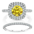1.25 TCW Fancy Yellow Diamond Cushion Halo Ring Wedding Band 14K White Gold 1