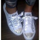 Converse All Star Swarovski Diamanti Strass Raso Classiche in Tela Total White