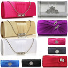 Ladies Women's Night Out Evening Classy Clutch Bag Crystal Flower Diamante Prom