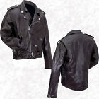 Black Mens Buffalo Leather Motorcycle Jacket Zip-Out Liner Classic Biker Style