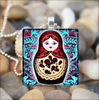 BABUSHKA DOLL RUSSIAN NESTING DOLLS MATRYOSHKA GLASS PENDANT NECKLACE design 5