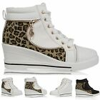 WOMEN WEDGE HEEL HIGH TOP ANKLE BOOTS LADIES SNEAKER BOOTS SHOES SIZE 3-8