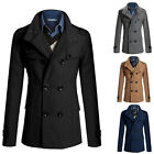 Mens Fashion Design Business Overcoats Wool Blends Long Jacket Slim Trench Coats