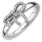 Diamond Bow Ring Sterling Silver 0.1 Ct Size 5-10 Stackable Expressions