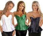 Sexy Strapless Pleated Burlesque Corset Top Satin Col Selection UK  S M L XL 2XL