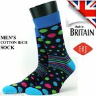 HJ Hall Mens 2 Pack Luxury 80% Cotton Sock Cranberry or Royal Spot & Stripe New
