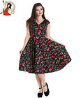 HELL BUNNY 50's CHERRY POP rockabilly DRESS BLACK