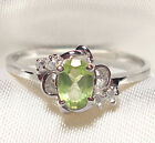 Genuine Green Peridot .925 Sterling Silver Ring -- PD715