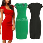 Kattee Office Lady Square Neck Sleeve Career Vintage Bodycon Work Dress 3 Color