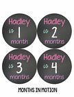 Personalized Baby Girl Monthly Stickers Custom Baby Name Month Sticker #502