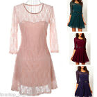 Womens Ladies Party Evening Prom Lace Mini Short Tunic Skater Dress Half Sleeve