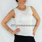 Ladies Cotton Thermal Underwear Singlet Vest Top Beige - sizes 8-22